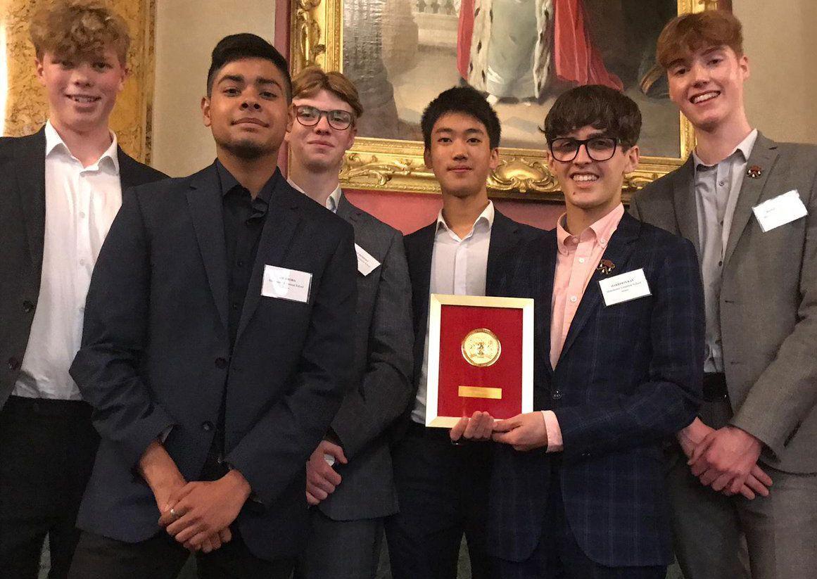 The Manchester boys receiving their award.