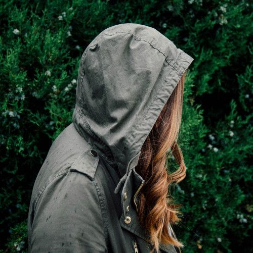 Girl in a green jacket